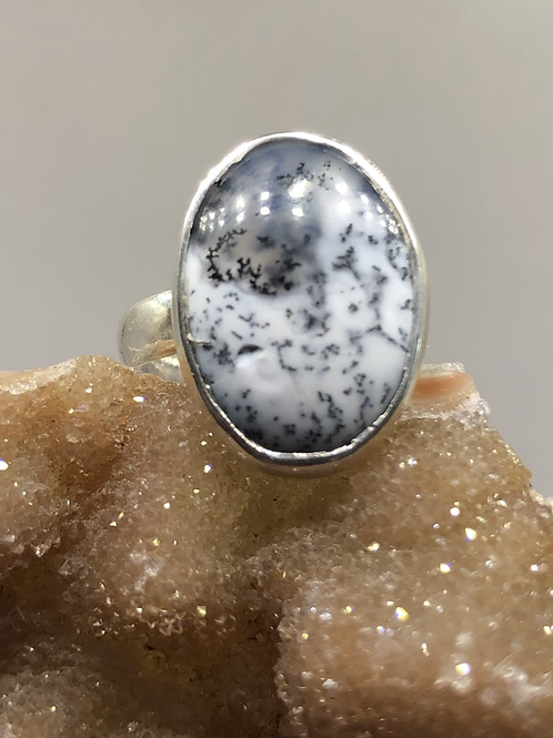 Sterling Silver Adjustable Dendritic Opal Ring