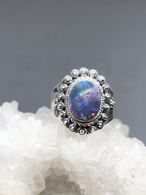 Sterling Silver Australian Doublet Opal Ring size 9