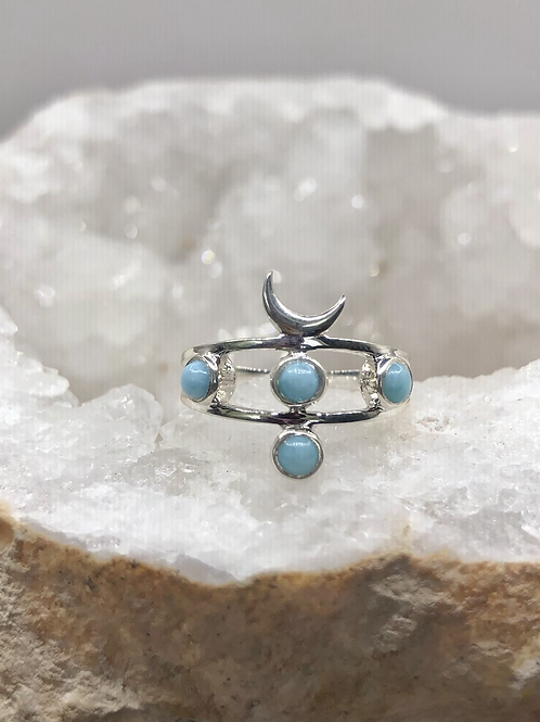 Sterling Silver Larimar Ring Size 5.5