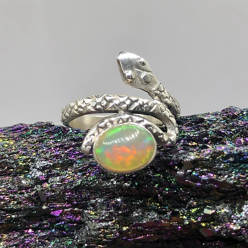 Sterling Silver Ethiopian Opal Ring Size 5