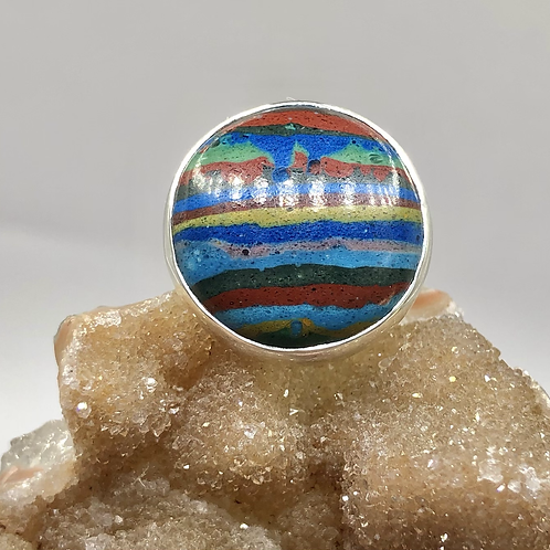 Sterling Silver Rainbow Calsilica Ring Size 4.5