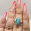 Thumbnail: Sterling Silver Aztec Turquoise Ring Size 9