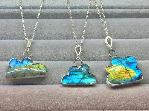 Sterling silver labradorite cloud necklace