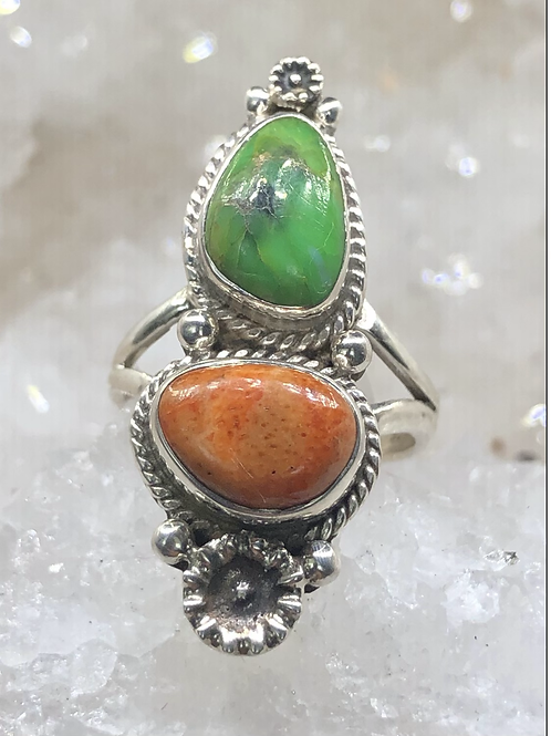 Sterling Silver Mohave and Spiny Oyster Turquoise Ring Size 5.5