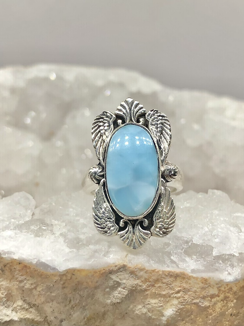Sterling Silver Larimar Ring Size 6.5
