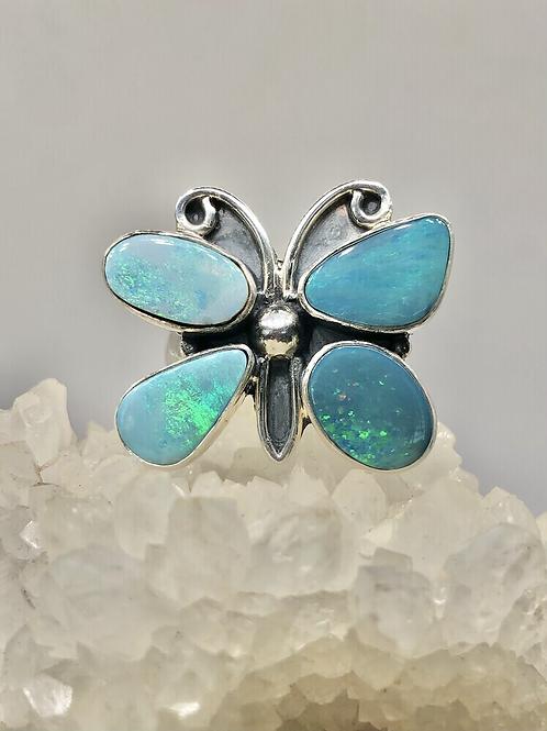 Sterling Silver Australian Doublet Opal Ring Adj