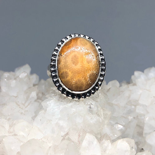 Fossilized Coral Ring Size 6