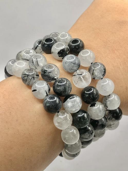Black Rutile Beaded Bracelet