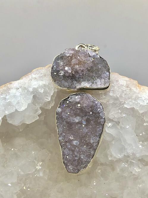 Sterling Silver Amethyst Druzy Pendant
