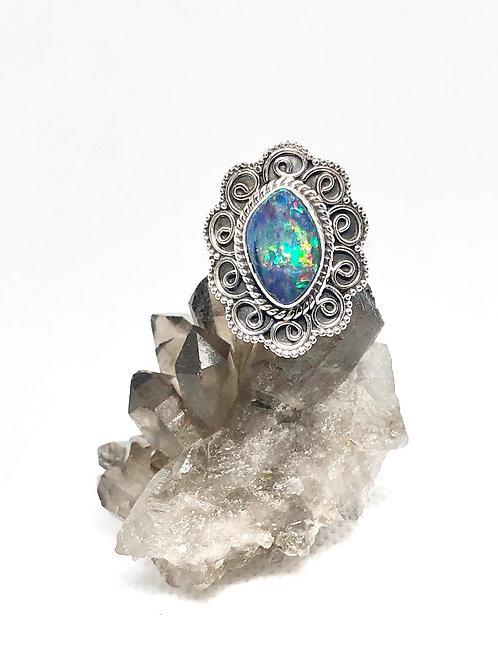 Australian douplet opal ring size 8