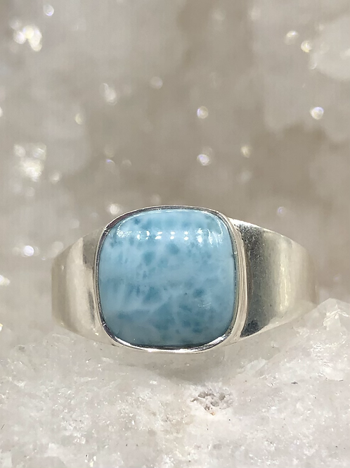 Sterling Silver Larimar Ring Size 12