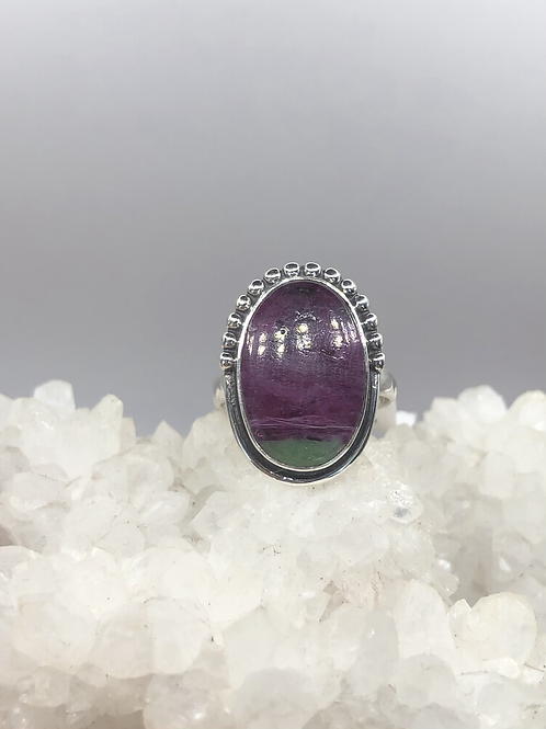 Sterling Silver Ruby Ziosite Ring Size 6