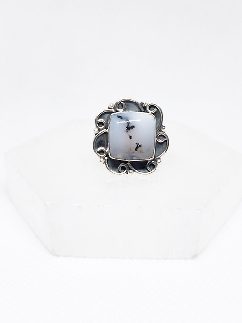 Dendritic opal ring size 8