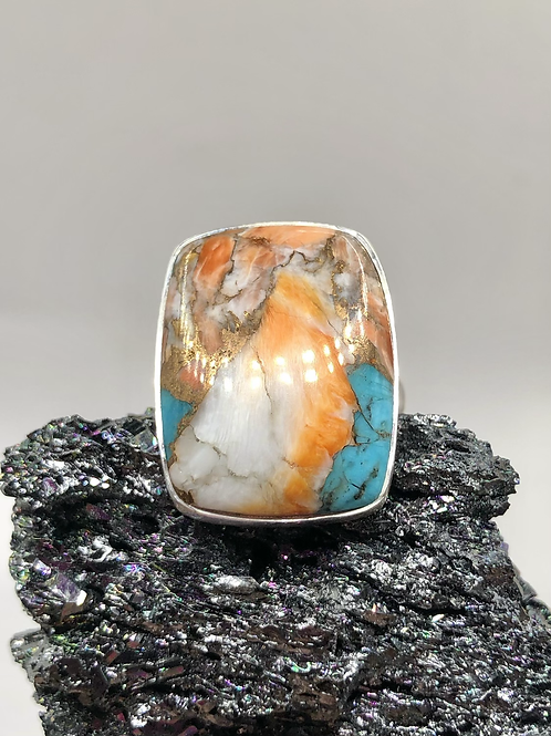 Sterling Silver Spiny Oyster Arizona Turquoise Ring Size 8