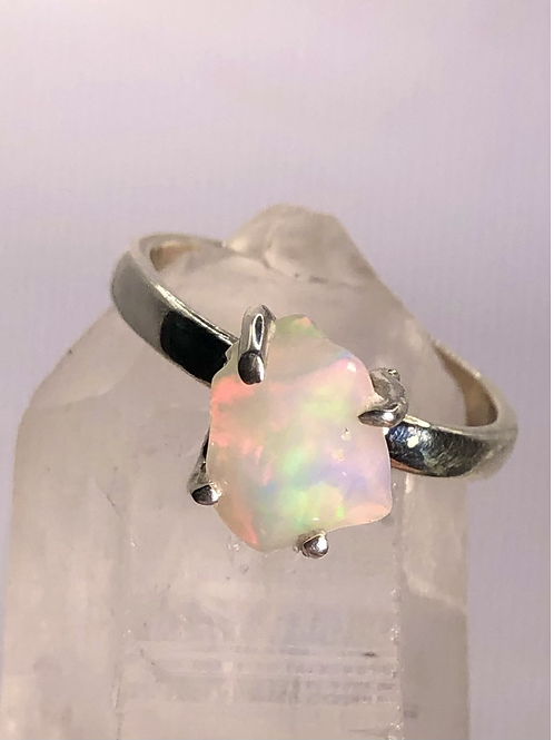 Sterling Silver Ethiopian Opal Ring Size 6.5