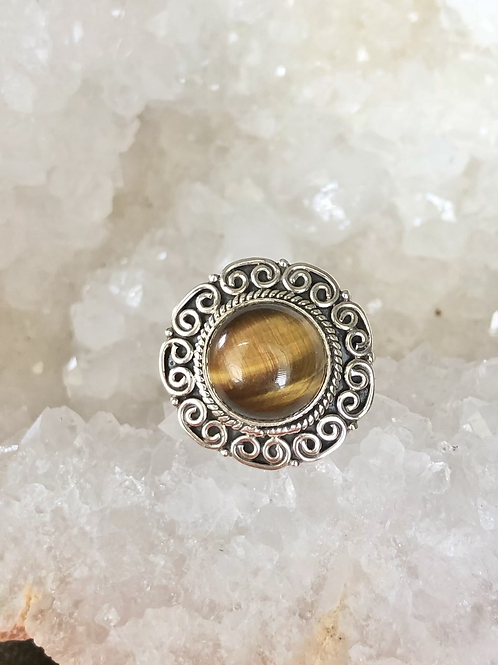 Sterling Silver Tigers Eye Ring Size 10