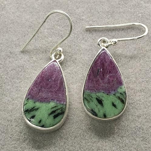 Sterling Silver Ruby in Ziosite Earrings