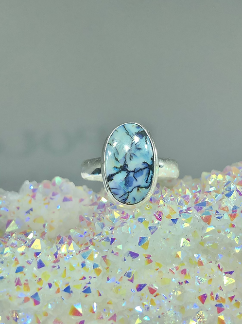 Sterling Monarch Opal Ring Size 6.5