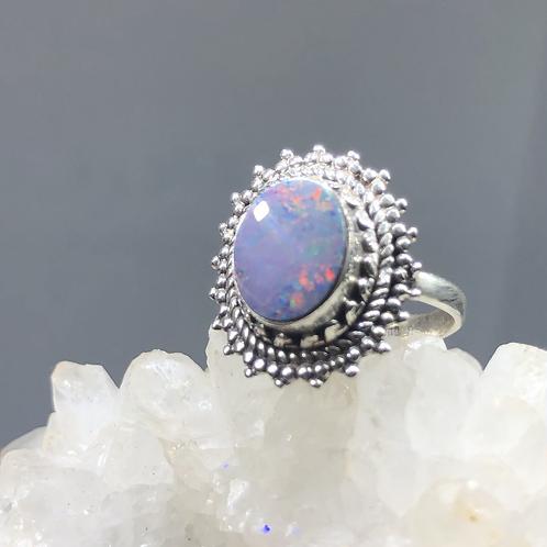 Sterling Silver Australian Doublet Opal Ring size 6.5
