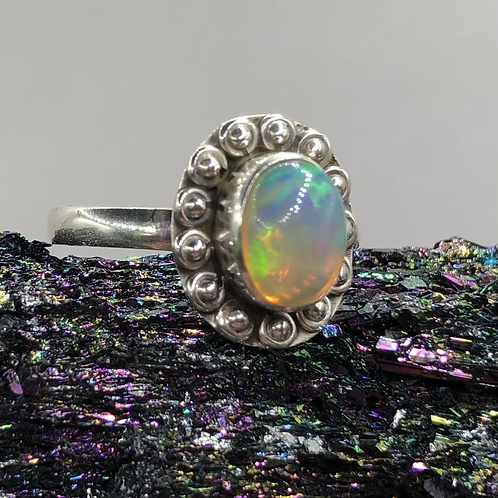 Sterling Silver Ethiopian Opal Ring Size 7.5