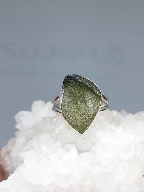 Sterling Silver Genuine Czech Moldavite Ring Size 8