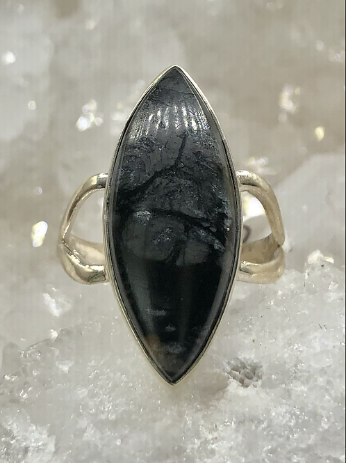 Sterling Silver Picasso Jasper Ring size-8.5