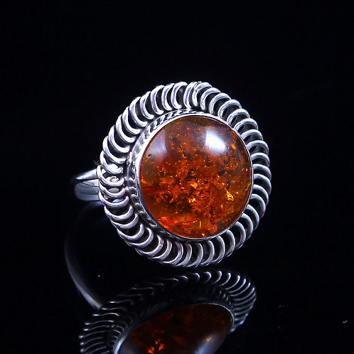 Sterling Silver Amber Ring Size 10