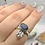 Thumbnail: Sterling Silver Faceted Labradorite Ring Size 8
