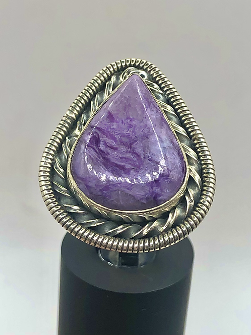 Sterling Silver Charoite Ring Size 7