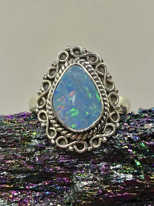 Sterling Silver Australian Opal Ring Size 8