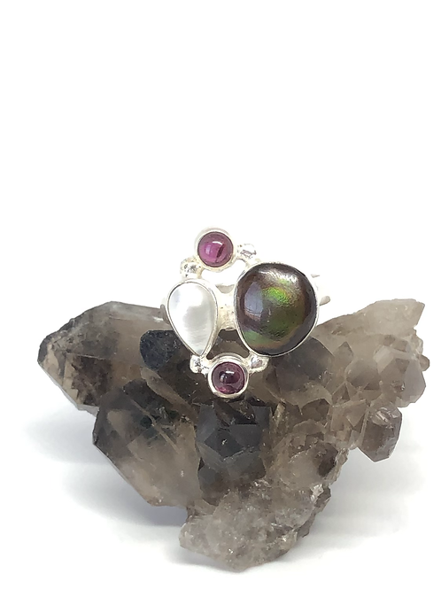 Sterling silver Fire Agate ring size 8