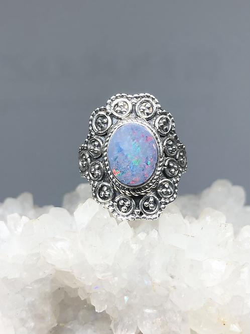 Sterling Silver Australian Doublet Opal Ring size 8.5