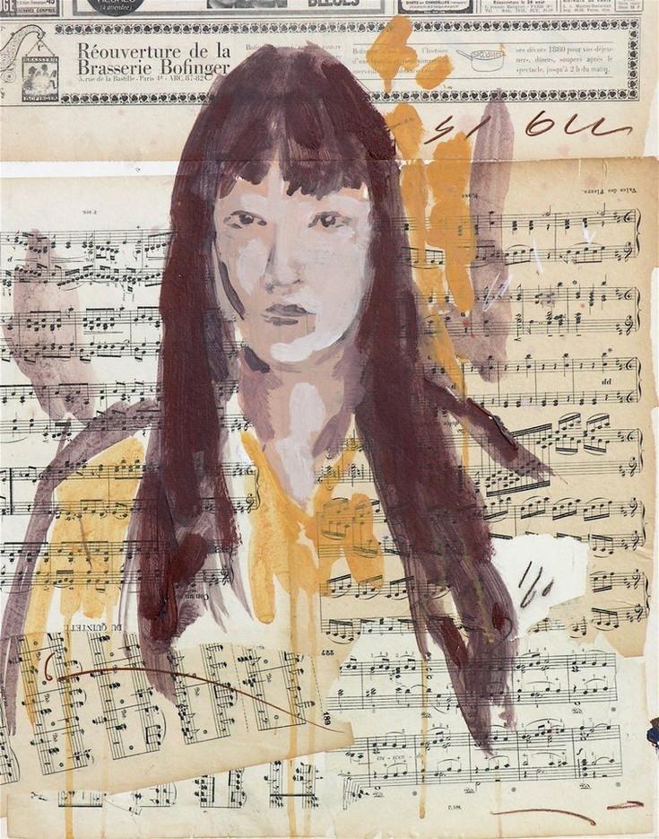 Portrait on music score
