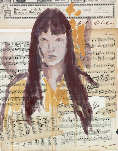 Portrait on music score