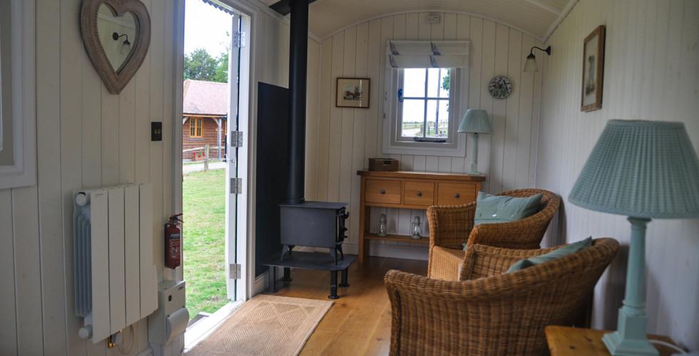 Shepherds Hut Interior with woodburner