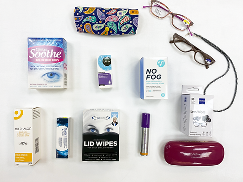 reading glasses, lens wipes, anti-fog wipes