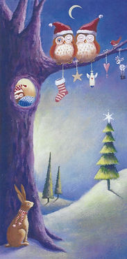 hand painted christmas card with owls sitting on a tree