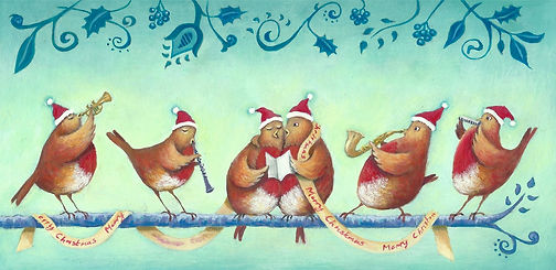 painted christmas card with birds wearing santa hats