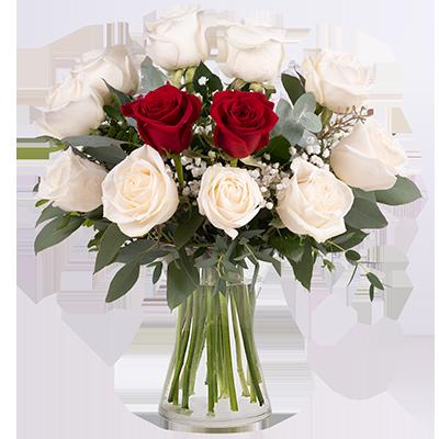 White & Red Roses