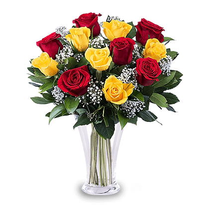 Flame: 11 Yellow and Red Roses
