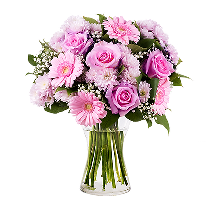 Young Lady: Pink Roses and Gerberas