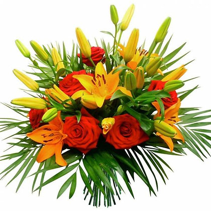 Bouquet with lilies and roses, in orange and red colours