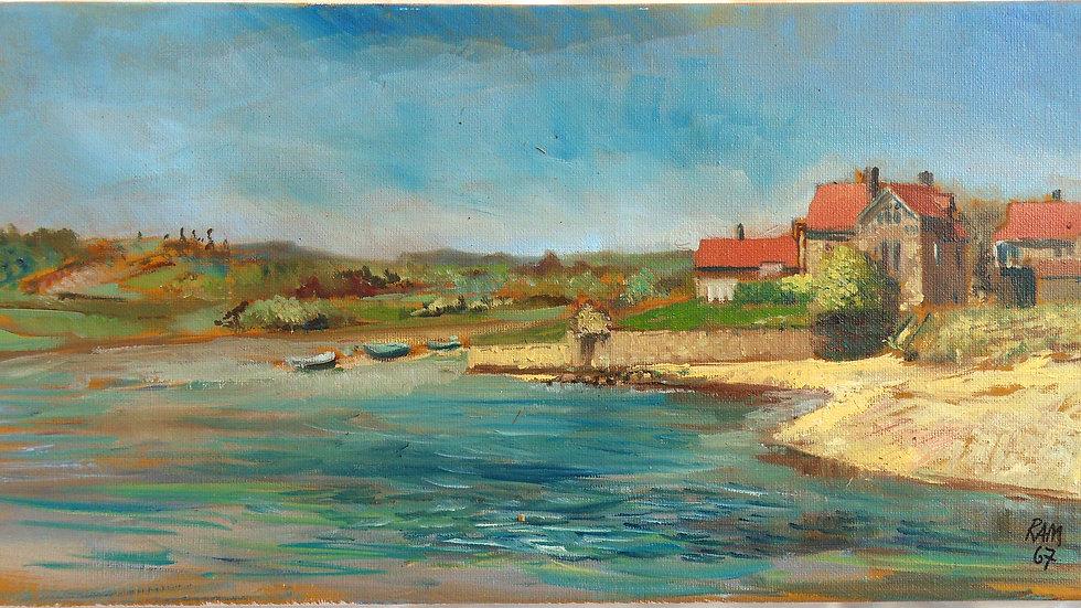 Alnmouth - En plein air original canvas 400mm x 200mm