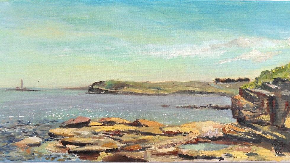 Seaton Sluice - En plein air original canvas 400mm x 200mm