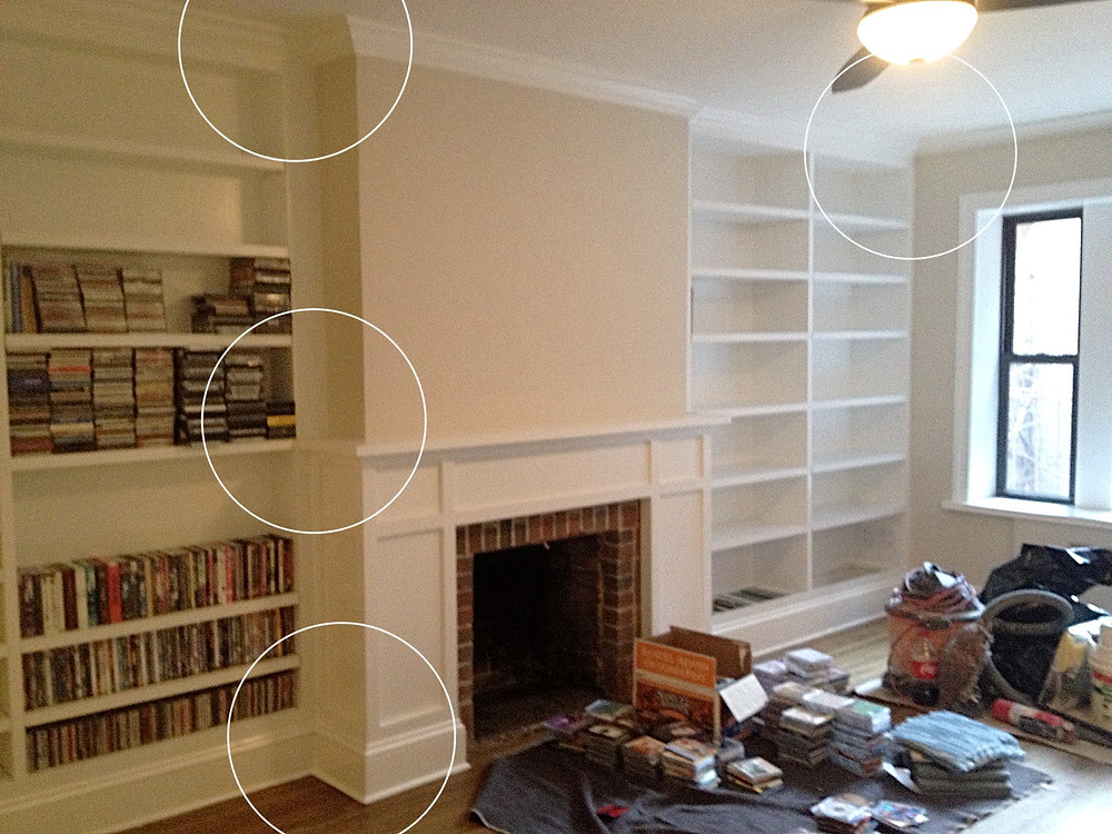 Built-in details of these bookcases need to happen BEFORE finish trim-work is done.