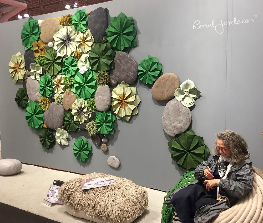 Ronel Jordaan felt flower garden accoustic wall installation