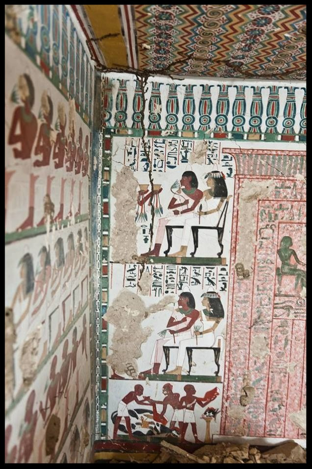 Painted plaster walls and ceiling - 3,500 year old Egyptian tomb