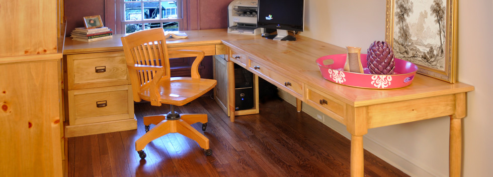 Custom pine desk and cabinetry