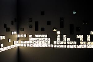 wall display using KUMIKO OLED modules by Kaneka