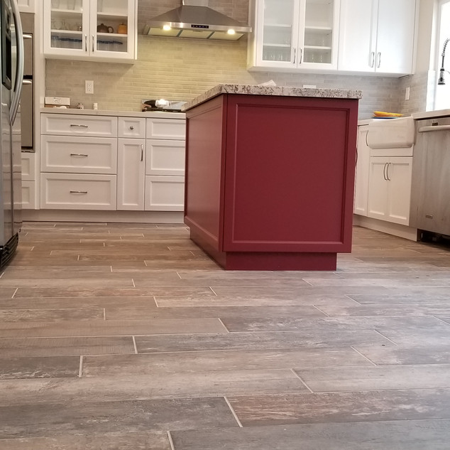 Red accent Island in New Kitchen Remodel